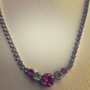 Vintage Rhinestone Gemstone Choker Necklace
